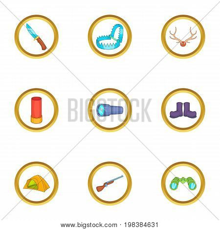Hunter tools icons set. Cartoon set of 9 hunter tools vector icons for web isolated on white background