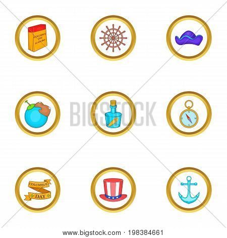 Discoverer icons set. Cartoon set of 9 discoverer vector icons for web isolated on white background