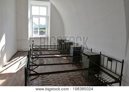 Historic fortress Modlin beds for soldiers in the barracks