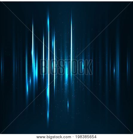 Abstract Technology Background. Sound waves oscillating dark blue light, Abstract technology background. Vector.