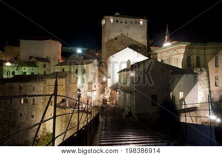 Center of historical city Mostar during the night, Bosnia and Herzegovina