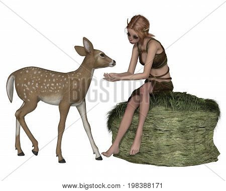 Fantasy illustration of a cute shy forest elf or faun with pointed ears and antlers sitting on a grassy rock talking to a young deer, digital illustration (3d rendering)