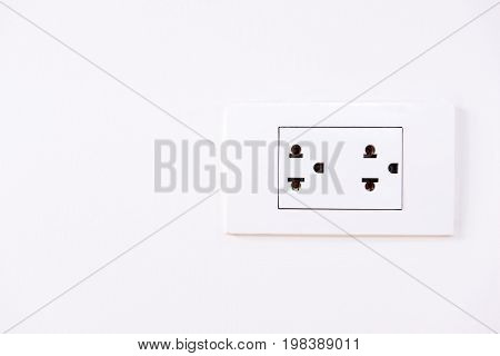 wall double plug socket or electrical power socket on white background.