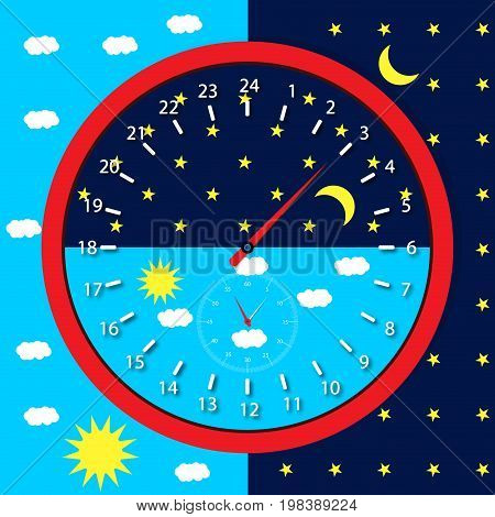 Clock face day and night. Sun and moon 24 hours vector illustration