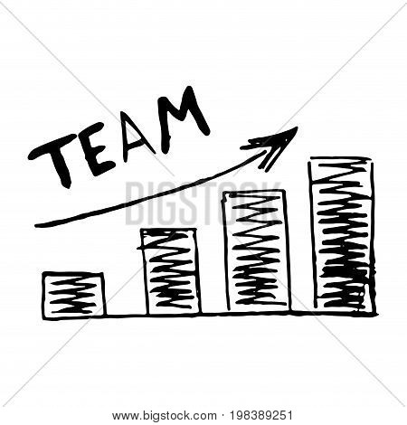 Hand drawn chart graphic development team vector. Team building development process development plan teamwork concept illustration