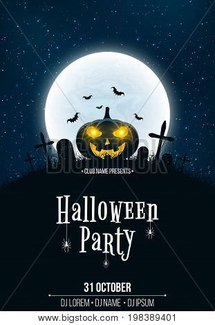 Template for Halloween party. The night scene of horrors. The concept of crosses graves and pumpkin with luminous yellow eyes. Full moon. Vertical background. Club poster. Vector illustration