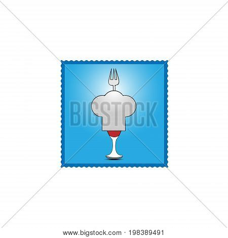 Vector illustration of the logo of the chef's cap over the beard with red wine and shadow under it and sticking a fork out from behind the cap on a background of a blue square on a white background.