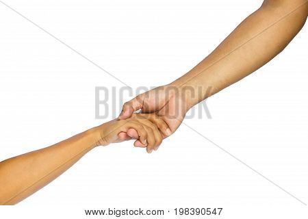 Lending a helping hand isolated on white background with clipping path
