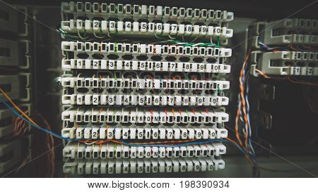 PBX Telephone System Connectors Inside Patch Panel