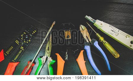 Network Tools for Cabling on Black Background