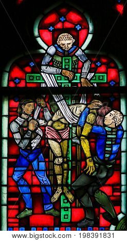 Stained Glass In Worms - Jesus Taken From The Cross