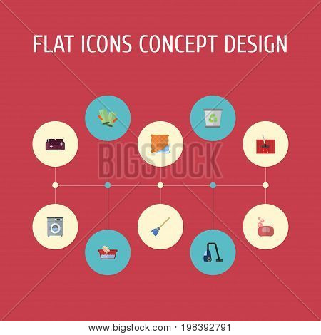 Flat Icons Sweeper, Laundromat, Besom And Other Vector Elements