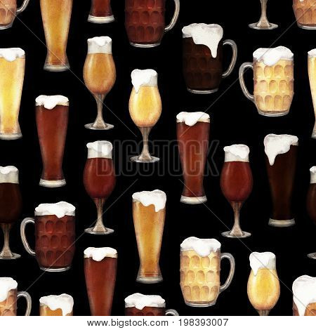 Four varieties of beer in glasses of three different shapes. Hand painted watercolor seamless pattern