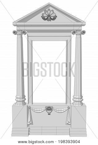 Window aperture with columns on whte background