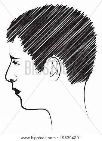 Portrait of a man in profile. Vector illustration