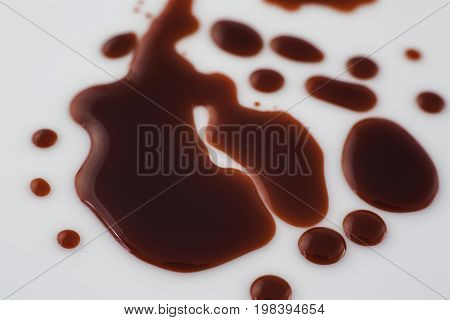Fake blood spatters on a white background