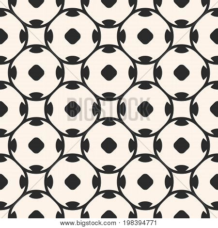 Vector seamless pattern in oriental style. Simple monochrome geometric ornament delicate abstract background, texture with rounded shapes, lattice, repeat tiles. Design for decor, fabric, printing.