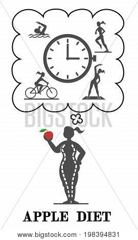 Apple diet girl and sport. The girl wants to lose weight. She chooses, goes in for sports or go on a diet. How to use time.