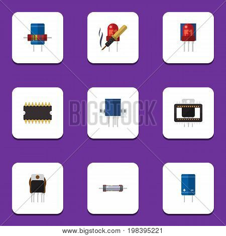 Flat Icon Technology Set Of Repair, Receptacle, Mainframe And Other Vector Objects