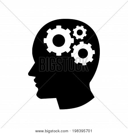 Pictograph of Gear in Head icon iconic symbol on white background - Vector Iconic Design.