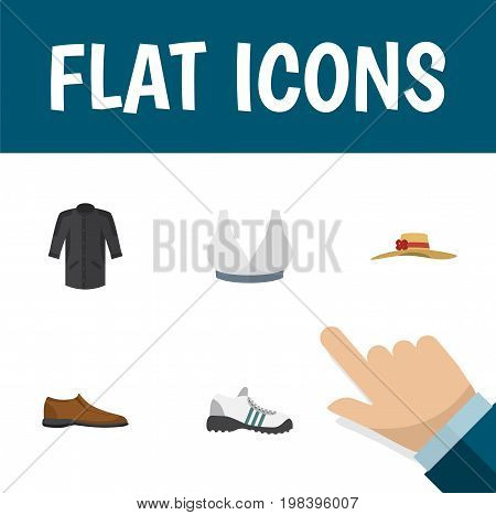 Flat Icon Garment Set Of Male Footware, Brasserie, Elegant Headgear And Other Vector Objects