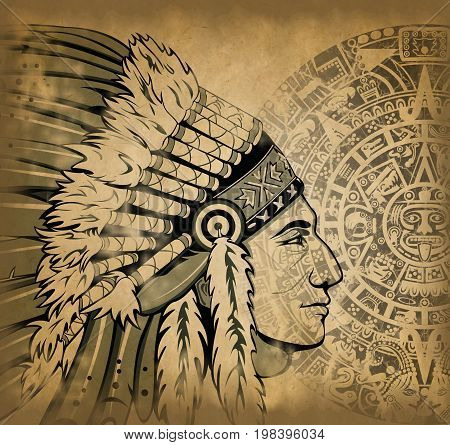 Indian With Aztec Calendar On Old Paper