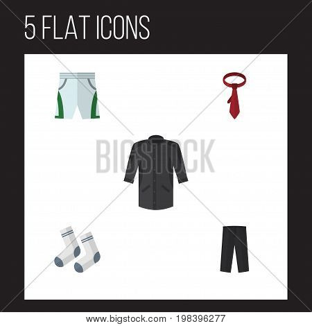 Flat Icon Dress Set Of Foot Textile, Cravat, Pants And Other Vector Objects