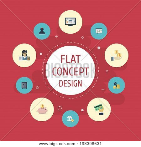 Flat Icons Moneybox, Card, Profit And Other Vector Elements