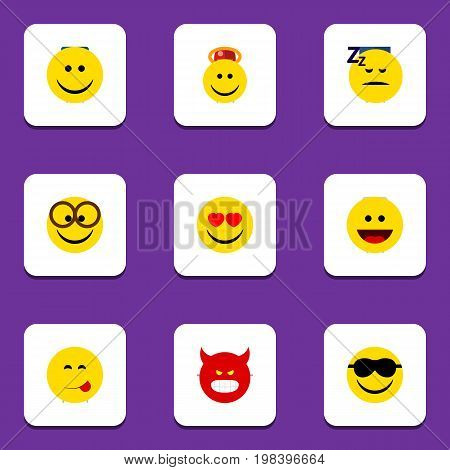 Flat Icon Emoji Set Of Pleasant, Happy, Pouting And Other Vector Objects