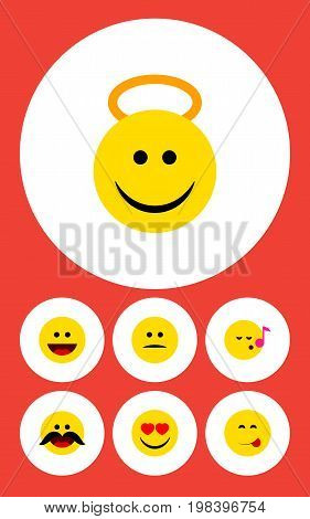 Flat Icon Gesture Set Of Love, Angel, Cheerful And Other Vector Objects
