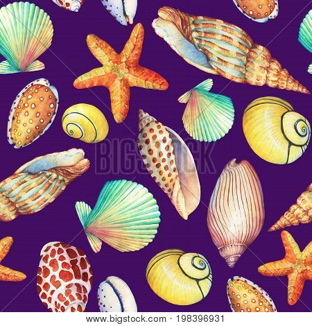 Seamless pattern with underwater life objects, isolated on dark violet background. Marine design-shell, sea star. Watercolor hand drawn painting illustration. Element for posters, greeting cards.