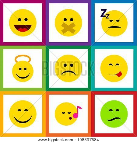 Flat Icon Face Set Of Angel, Laugh, Smile And Other Vector Objects