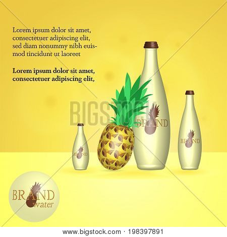 Brand. Water bottles with pineapple. In trendy colors with text field.