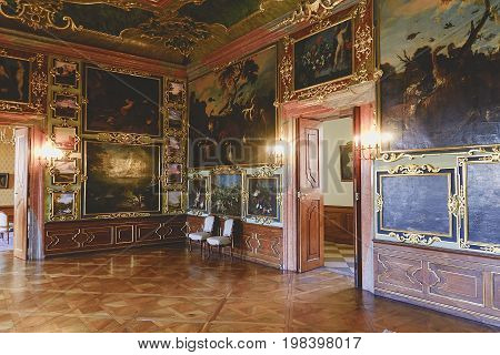 VALTICE, THE CZECH REPUBLIC - JUNE 31, 2017: Valtice Palace 18th c. in Czech Republic, former seat of the ruling princes of Liechtenstein. Architect Johann Erlach. UNESCO site. Interior scene