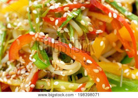 Fresh colorful salad with sesame close up shoot