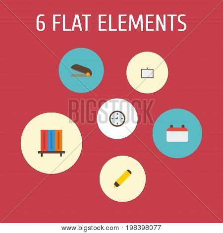 Flat Icons Watch, Whiteboard, Bookshop And Other Vector Elements