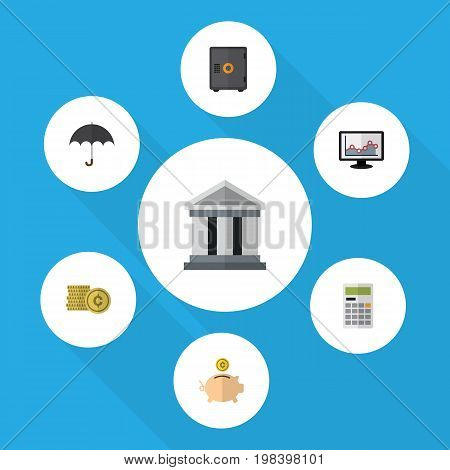 Flat Icon Gain Set Of Parasol, Cash, Money Box And Other Vector Objects