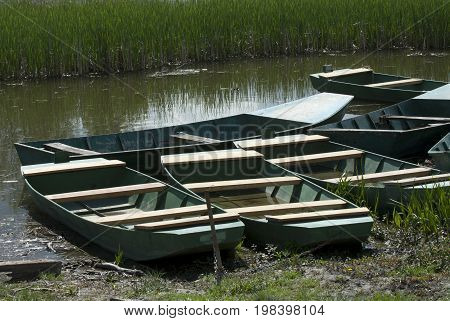 Green boats on the river with river water grass
