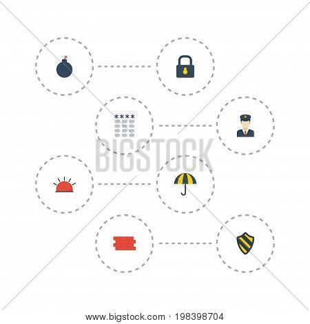 Flat Icons Shield, Explosive, Siren And Other Vector Elements