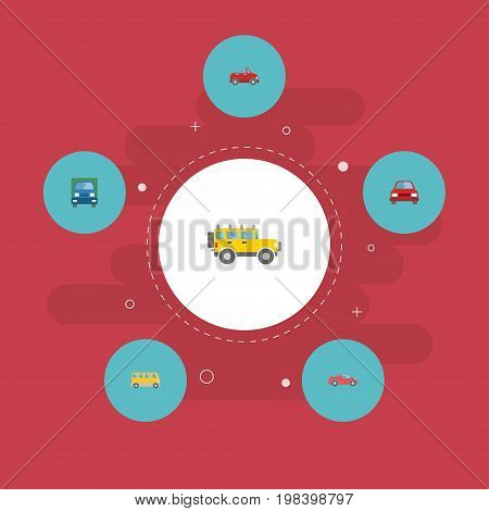 Flat Icons Jeep, Omnibus, Truck And Other Vector Elements