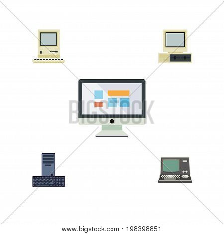 Flat Icon Laptop Set Of Processor, Computer, Display And Other Vector Objects
