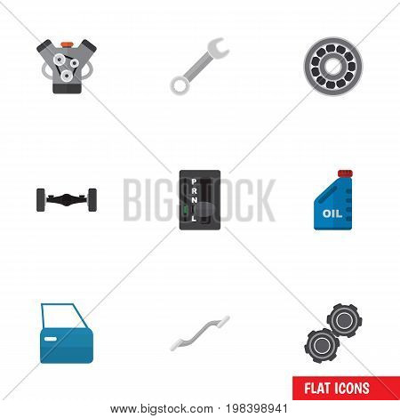 Flat Icon Workshop Set Of Belt, Spanner, Motor And Other Vector Objects