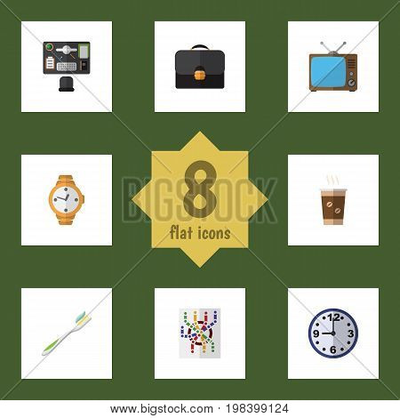 Flat Icon Oneday Set Of Bureau, Router, Television And Other Vector Objects