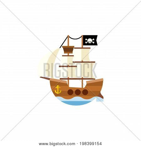 Vessel Vector Element Can Be Used For Vessel, Ship, Pirate Design Concept.  Isolated Pirate Flat Icon.