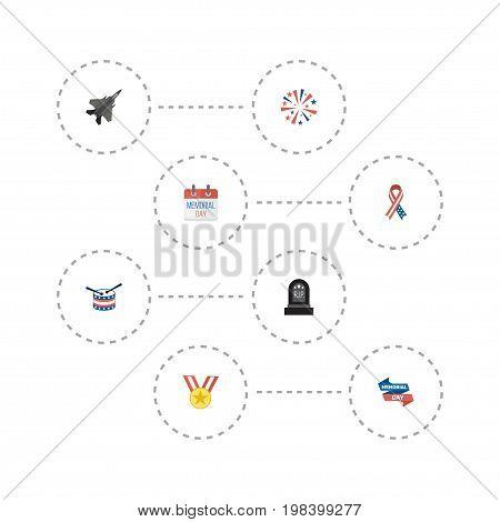 Flat Icons Tomb, Medallion, Ribbon And Other Vector Elements