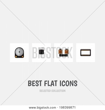 Flat Icon Device Set Of Hdd, Mainframe, Receiver And Other Vector Objects