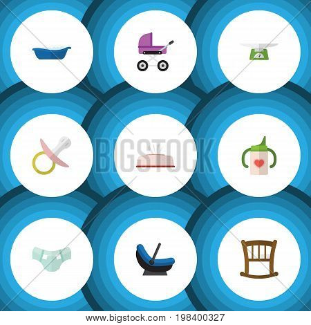 Flat Icon Kid Set Of Nappy, Nipple, Stroller And Other Vector Objects