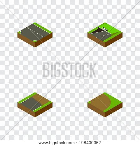 Isometric Road Set Of Downward, Unfinished, Subway And Other Vector Objects