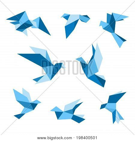 Blue flying pigeon and dove birds set isolated on white. Pigeon polygonal style. Vector illustration.