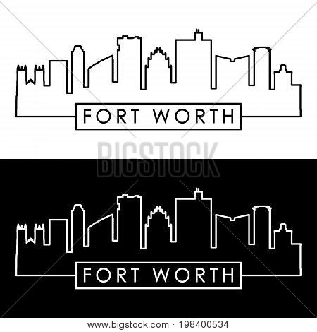 Fort Worth skyline. Linear style. Editable vector file.